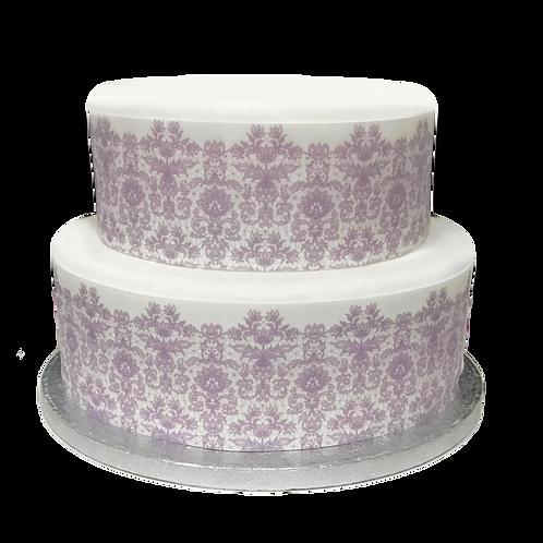 Lilac Purple Lace Borders Decor Icing Sheet Cake Decoration