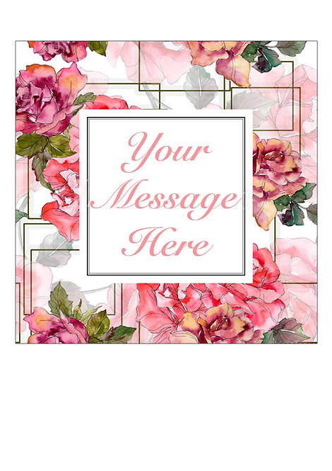 Pink Rose Flower PERSONALISED MESSAGE 7.5 Inch SQUARE Decor Icing Sheet