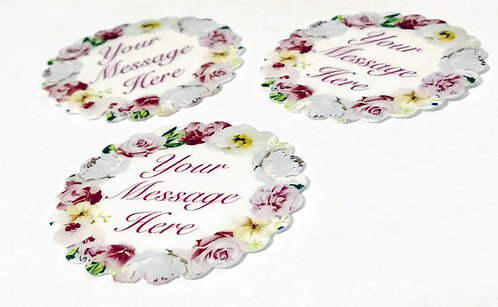 15 Pre-Cut PERSONALISED Scalloped Edge Yellow Pink Floral Thick Wafer Paper
