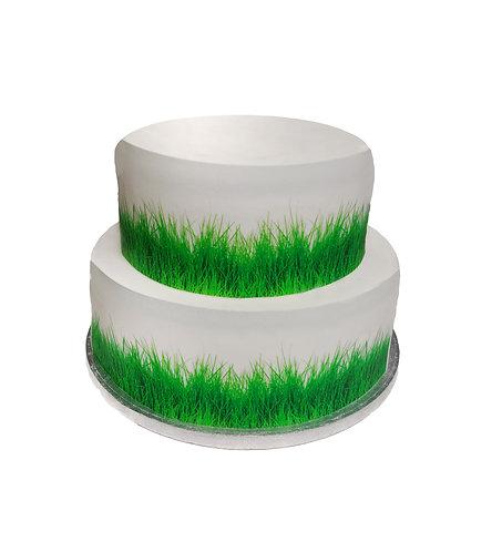 Green Grass Border Decor Icing Sheet Cake Decoration