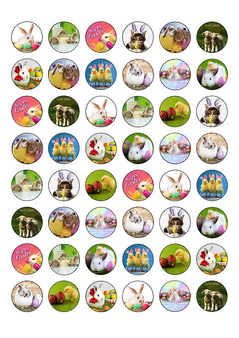 48 Easter Cute Animals 2.5cm Edible Wafer Toppers