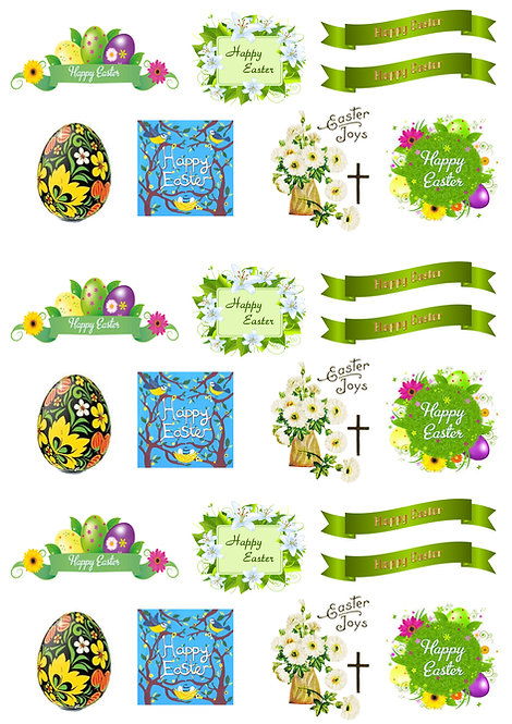 24 Stand Up Edible Wafer Paper Happy Easter Toppers