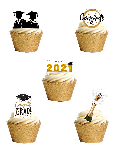 21 Stand Up Edible Wafer Paper Graduation 2021 Congratulations Toppers