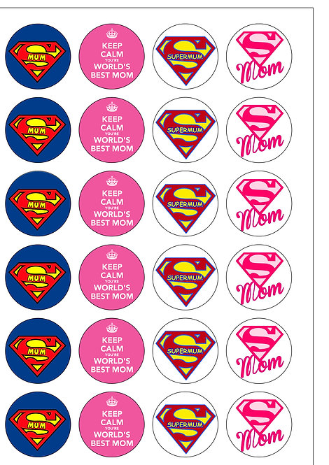 24 Supermum Happy Mother's Day Pre-Cut Thin Edible Wafer Paper