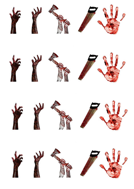 20 Halloween Horror Hands Themed Stand Up Cake Toppers on Thick Wafer Paper
