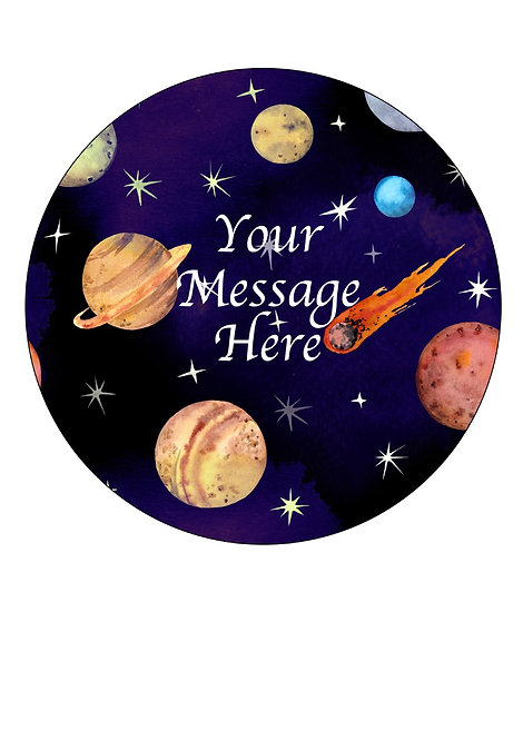 Planets PERSONALISED MESSAGE 7.5 Inch Circle Decor Icing Cake Top