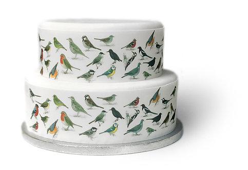 British Garden Birds Ribbon Border Decor Icing Sheet Cake Decoration