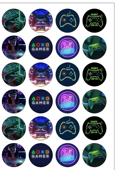 24 Precut Gaming/ Gamer Edible Wafer Paper Toppers Decorations