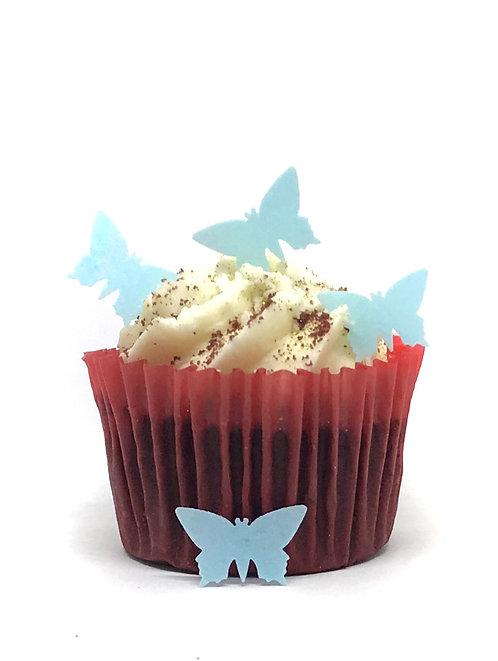 100 Pre-Cut Blue Mini Butterflies Edible Wafer Paper