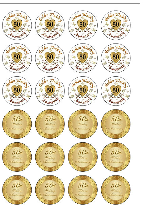 24 Golden Wedding Anniversary 50 Years Pre-Cut Thin Edible Wafer Paper