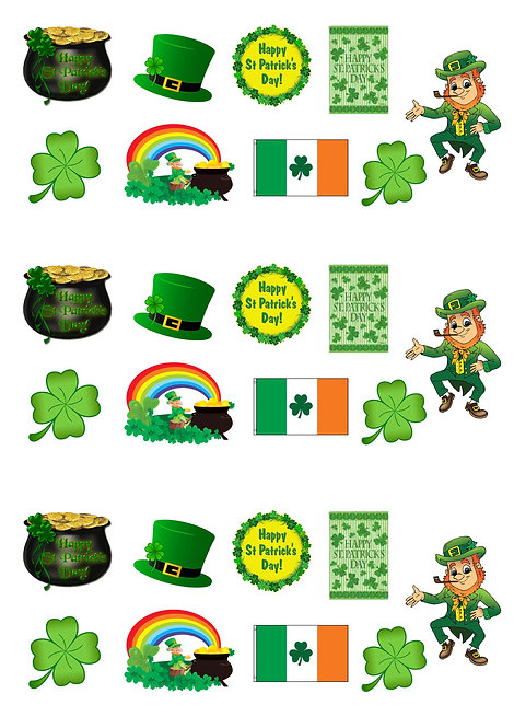 27 Stand Up Edible Wafer Paper St Patrick's Day Toppers
