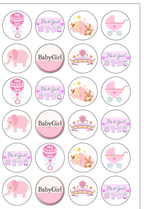 24 GIRL Baby Shower Pre-Cut Thin Edible Wafer Paper