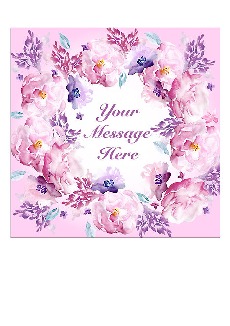 Pink Watercolour Flower PERSONALISED MESSAGE 7.5 Inch SQUARE Decor Icing Topper