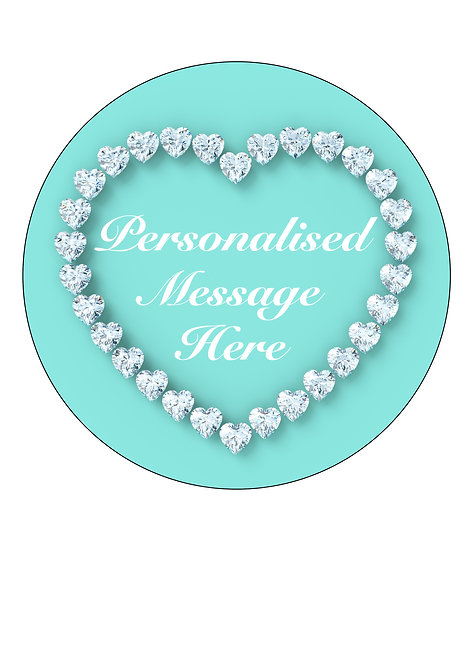 Tiffany Blue Diamonds PERSONALISED MESSAGE 7.5 Inch Circle Decor Icing Topper