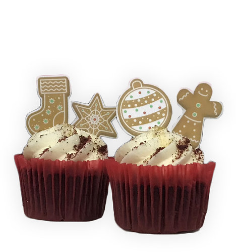 24 Gingerbread Cookie Biscuits Themed Stand Up Cake Toppers on Thick Wafer