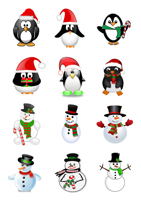 12 Stand Up Edible Wafer Paper Cute Snowmen and Penguin Toppers