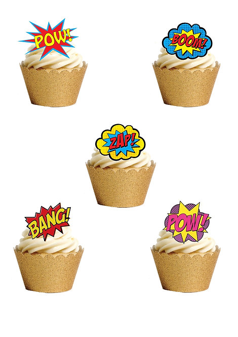 24 Stand Up Edible Wafer Paper Superhero Retro Pow Zap Comic Book Style Toppers
