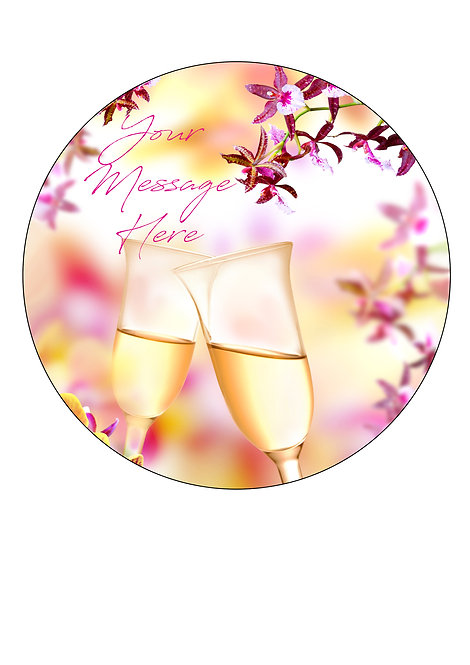 Champagne and Orchid PERSONALISED MESSAGE 7.5 Inch Circle Icing Topper