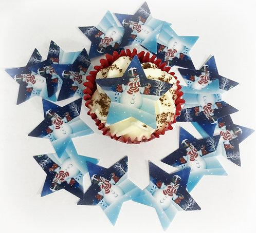 15 Star Cut Christmas Snowman Pre-Cut Thin Edible Wafer Paper