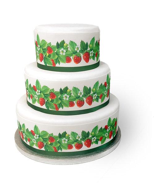 Strawberry Flower Cake Border Edible Decor Icing Sheet