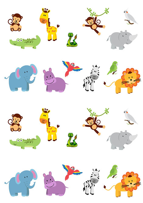 26 Stand Up Edible Wafer Paper Cute Jungle Animals Toppers