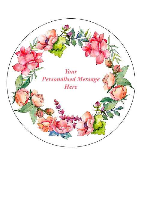 Pink Floral Flower PERSONALISED MESSAGE 7.5 Inch Circle Decor Icing Sheet