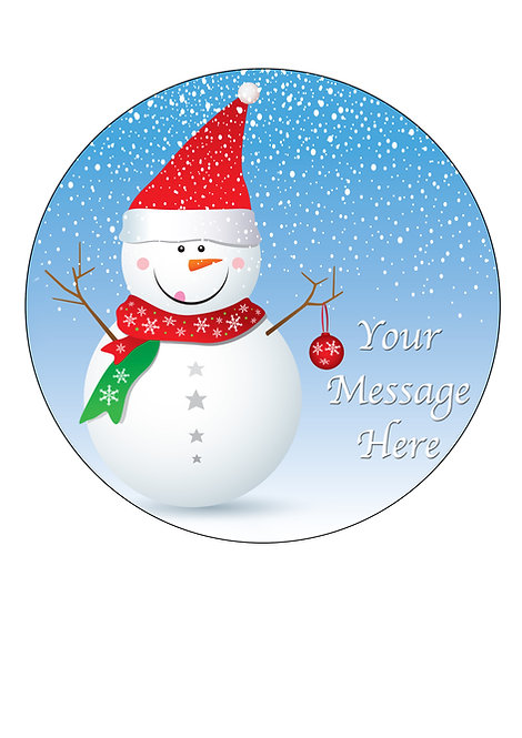 Christmas Happy Snowman PERSONALISED MESSAGE 7.5 Inch Circle Decoration Topper