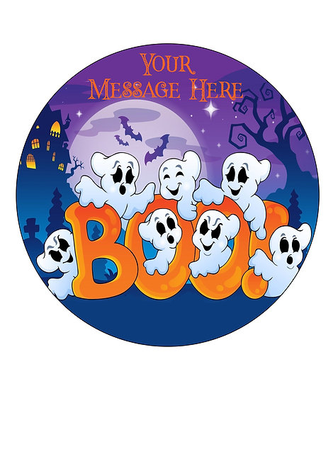 Cute Halloween Ghost PERSONALISED MESSAGE 7.5 Inch Circle Decor Icing Topper