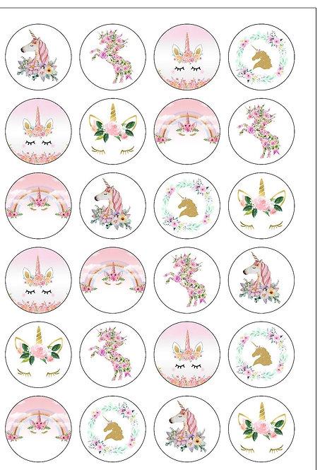 24 Unicorn Flower Pre-Cut Thin Edible Wafer Paper