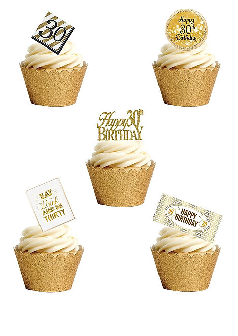 24 Stand Up Edible Wafer Paper THIRTIETH 30th Birthday Toppers