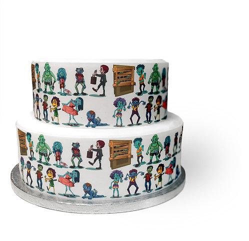 Halloween Cartoon Zombie Border Decor Icing Sheet Cake Decoration