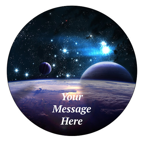 Galaxy Space PERSONALISED MESSAGE 7.5 Inch Circle Decor Icing Sheet