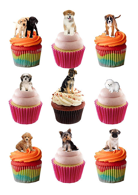 32 Stand Up Edible Wafer Paper Cute Puppies Pups Toppers