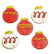 Red & White Christmas Baubles Edible Sugarcraft Icing