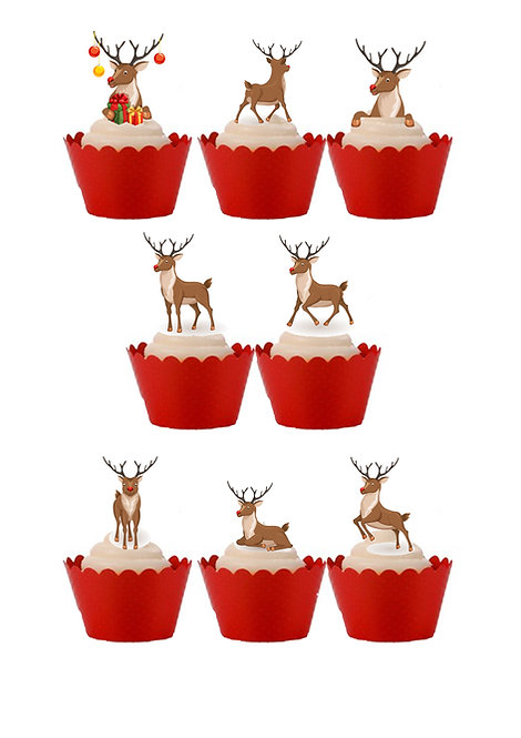 27 Rudolph Reindeer Themed Stand Up Cake Toppers on Thick Wafer