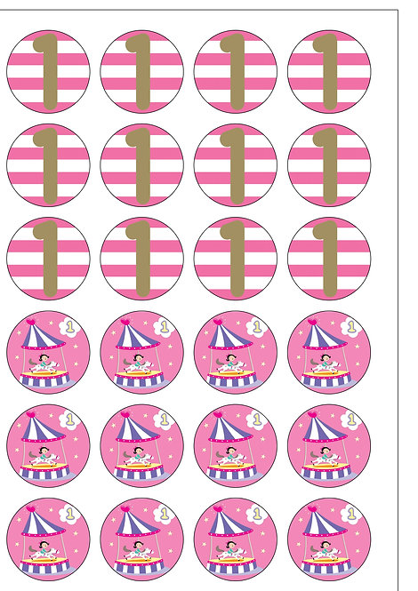 24 GIRL Age 1 ONE Birthday Pre-Cut Thin Edible Wafer Paper