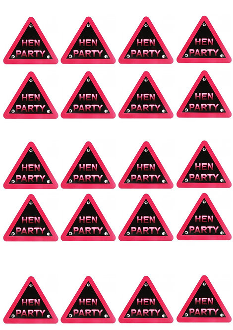 20 Stand Up Edible Wafer Paper Warning Hen Toppers