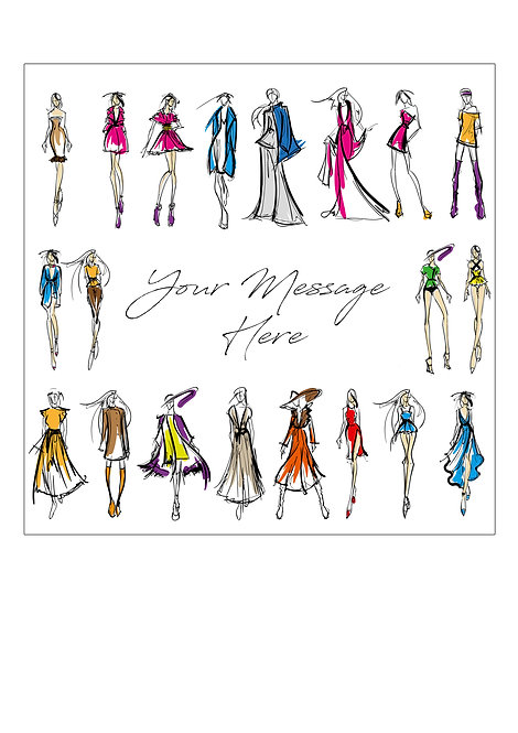 Fashion Designer Sketch PERSONALISED MESSAGE 7.5 Inch SQUARE Decor Icing Sheet