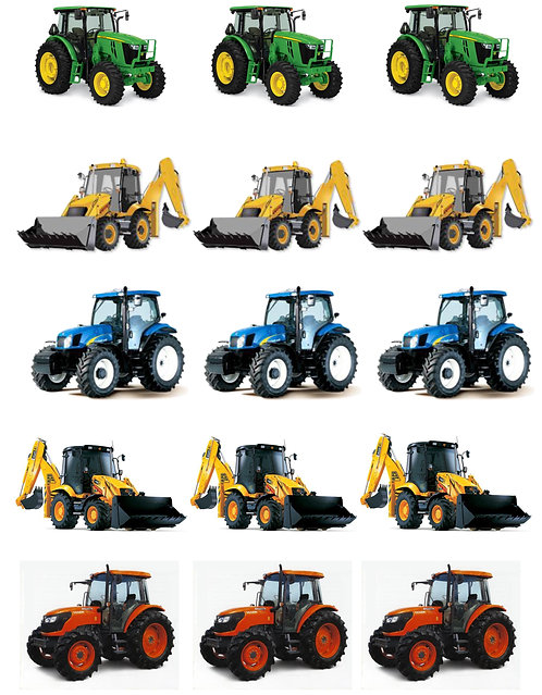 15 Stand Up Edible Wafer Paper Farm Tractors Toppers