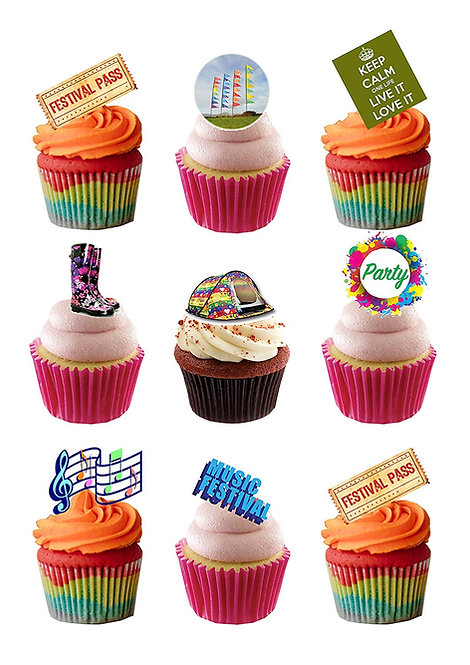 24 Stand Up Edible Wafer Paper Summer Music Festival Toppers
