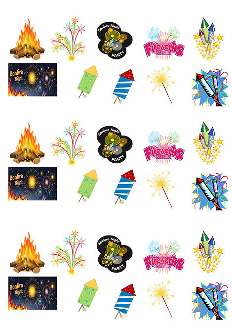 30 Stand Up Edible Wafer Paper Bonfire Night Fireworks Toppers