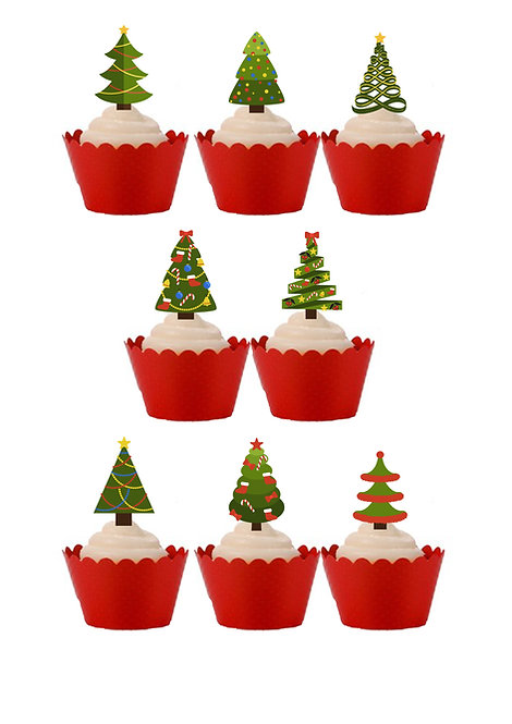 30 Christmas Tree Themed Stand Up Cake Toppers on Thick Wafer Paper