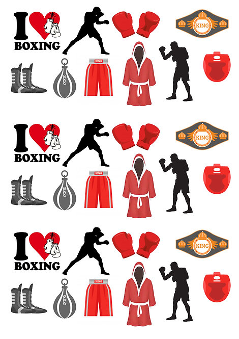 30 Stand Up Edible Wafer Paper Boxing Sport Cake Toppers