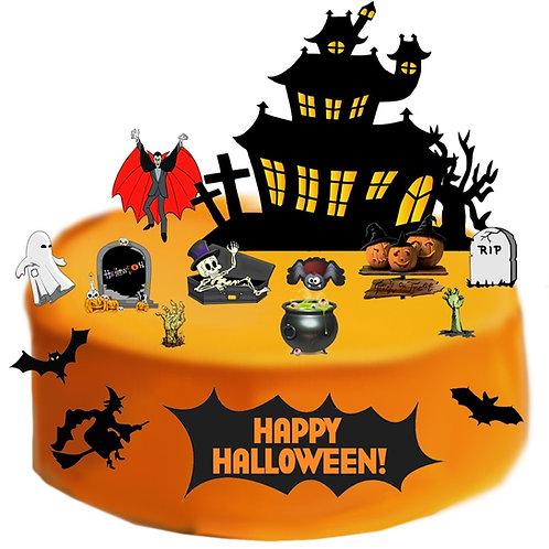 Spooky Happy Halloween Scene Edible Wafer Paper Cake Topper