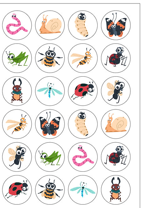 24 Pre-Cut Cute Bugs & Insects Edible Wafer Paper Cake Toppers