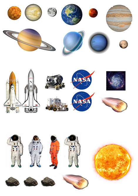 27 Stand Up Edible Wafer Paper Space Rocket Planets Toppers