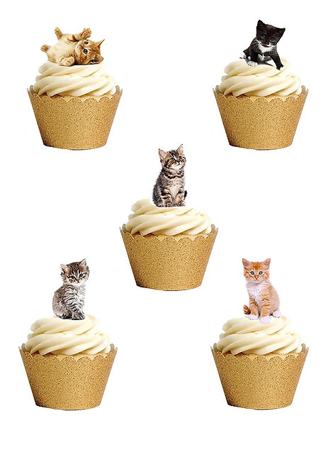 36 Stand Up Edible Wafer Paper Kitten Toppers