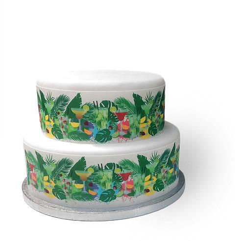 Tropical Cocktails Drinks Border Decor Icing Sheet Cake Decoration