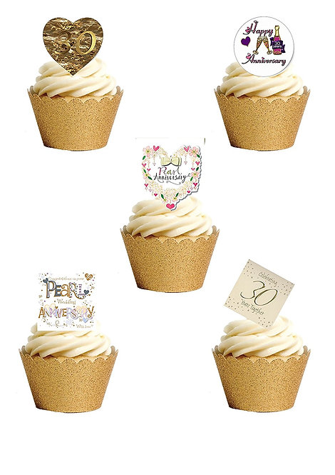 24 Stand Up Edible Wafer Paper 30th Pearl Wedding Anniversary Toppers