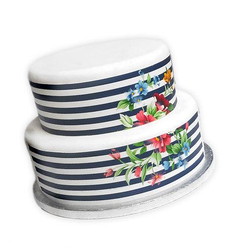 Navy White Striped Floral Border Edible Decor Icing Sheet Cake Decoration